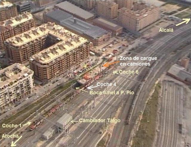 Situación del tren de Téllez tras el atentado. Los coches 1 a 4 quedaron aislados por la trinchera de la línea del Pasillo Verde