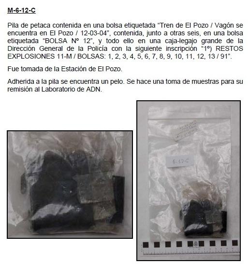 """6-12C: Pila de petaca contenida en una bolsa etiquetada """"Tren de El Pozo / Vagón se encuentra en El Pozo / 12-03-04"""","""