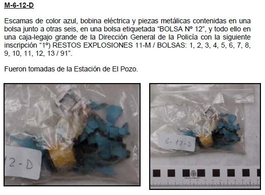 6-12D: Escamas de color azul, bobina eléctrica y piezas metálicas. Fueron tomadas de la Estación de El Pozo