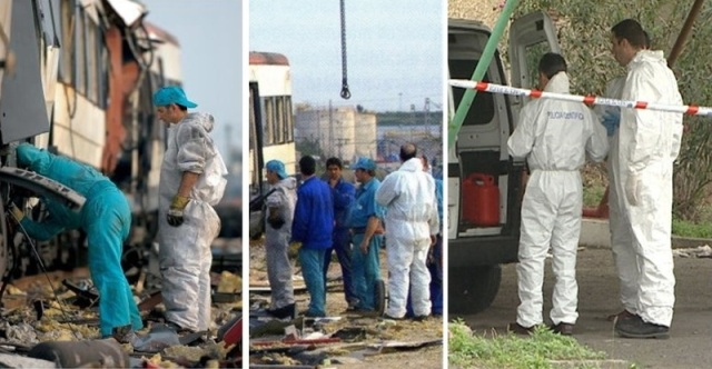 A la izquierda y centro, personal enguantado y con monos blancos investigando los coches 4 y 5. A la derecha, agentes de la Policía Científica en una investigación ajena al 11-M