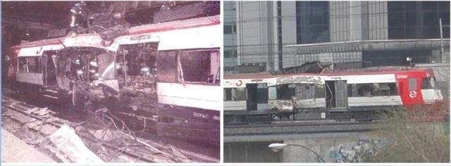 A la izquierda, el coche 1 en Atocha. A la derecha, a su salida de la estación
