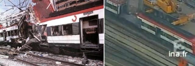 A la izquierda el coche 6 tras el atentado, a la derecha ya a punto de ser retirado, con el foco de explosión totalmente destruido