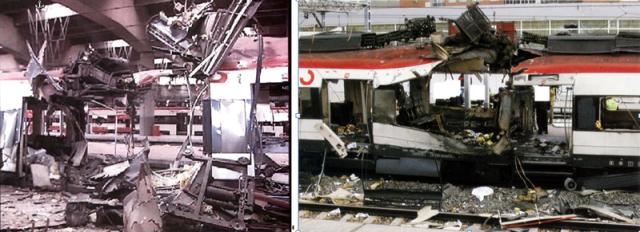 A la izquierda, foco del coche 4 de Atocha; a la derecha, foco del coche 4 de Santa Eugenia