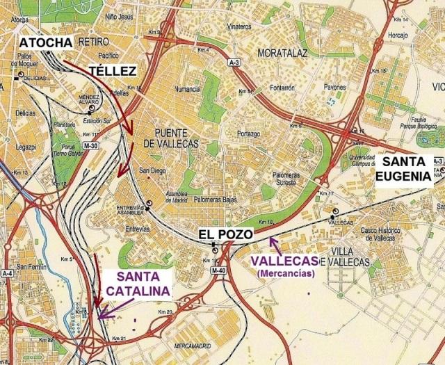 Itinerario seguido por el tren entre Atocha y Santa Catalina