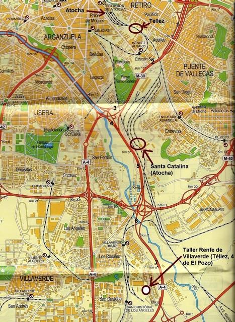 Itinerario marcado con números negros en el esquema de accesos a Madrid. También están indicados el destino del coche 4 de El Pozo y la ubicación de la estación de Santa Catalina, lugar al que fue trasladado el tren de Atocha