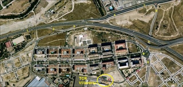 Probable itinerario seguido para acceder al taller de Villaverde. El círculo final amarillo indica el lugar en el que, como veremos más adelante, fueron depositados los medios coches