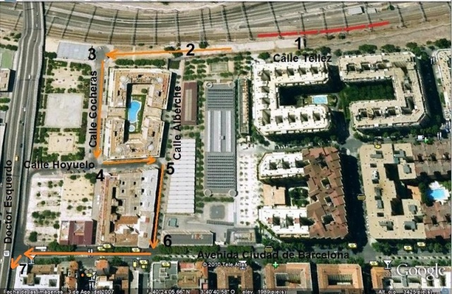 Itinerario entre la calle Téllez y la calle del Doctor Esquerdo. Los puntos numerados en esta foto servirán de referencia para situar otras fotos posteriores
