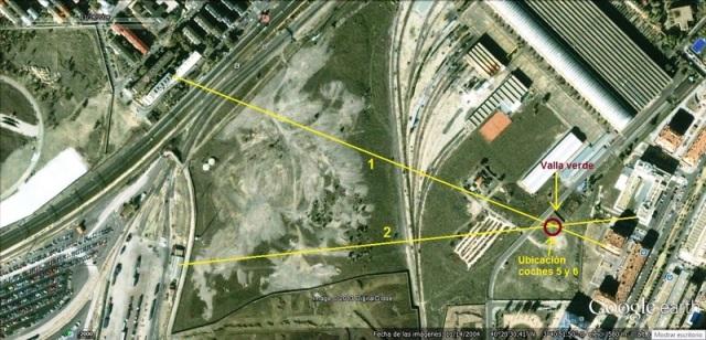 Alineaciones de las tomas de las fotos anteriores, y ubicación de los medios coches que se ven en ellas