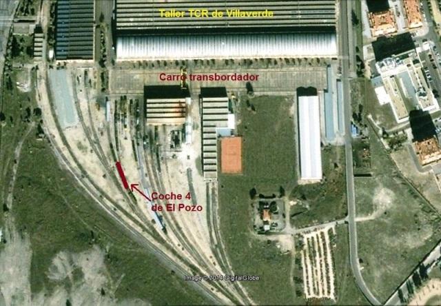 En rojo, ubicación en la que fue fotografiado el coche en el taller TCR de Villaverde