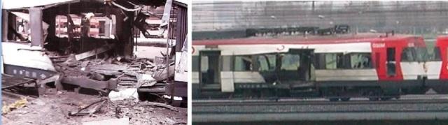 A la izquierda, el coche 4 en Atocha. A la derecha, a su salida de la estación