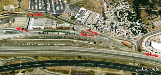Las flechas numeradas indican la maniobra de entrada del tren en Santa Catalina