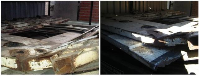A la izquierda, interior del cobertizo en febrero de 2011, a la derecha mismo interior en septiembre de 2013