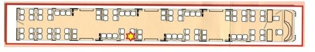 Esquema del coche 4 de Santa Eugenia con la ubicación del foco de la explosión