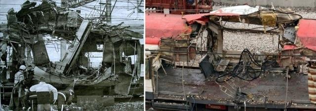 Comparación del estado inicial del foco de explosión con su aspecto tras su limpieza