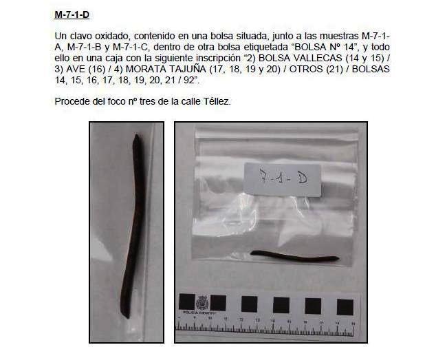 Única muestra recogida en el coche 5 de Téllez que llegó a la pericial de explosivos