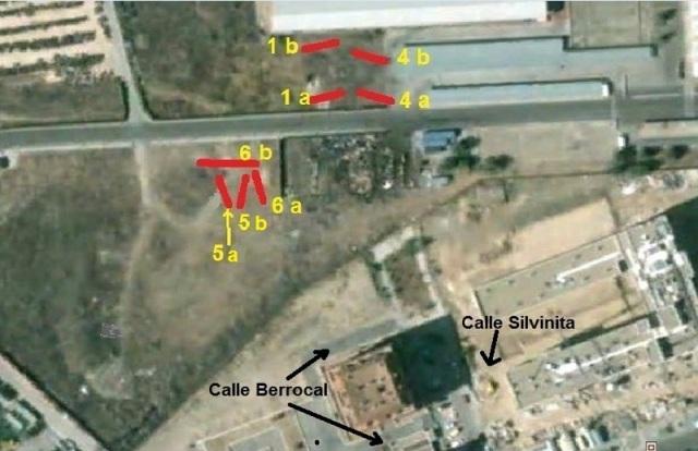 """Ubicación de los cuatro coches explotados del tren de Téllez. La indicación """"a"""" corresponde a las mitades delanteras, la """"b"""" a las traseras"""
