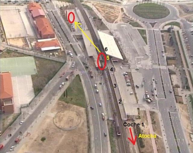 El tren de El Pozo  tras el atentado y traslado de su coche 5