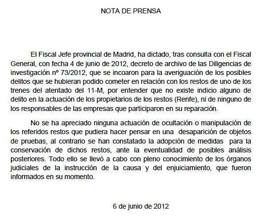 Nota de Prensa de la Fiscalía de Madrid