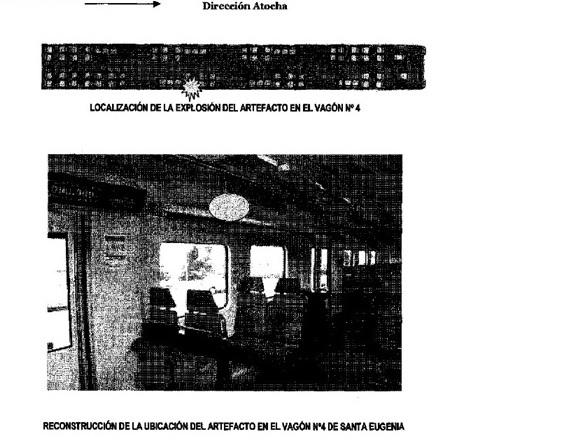 Ubicación de la bomba según el informe pericial sobre la ubicación de los artefactos