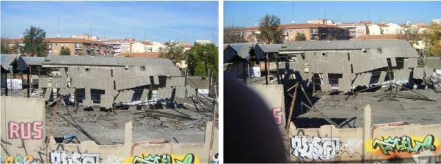 Aspecto del taller el 2 de noviembre de 2013 (izquierda) y el 4 de diciembre (derecha)