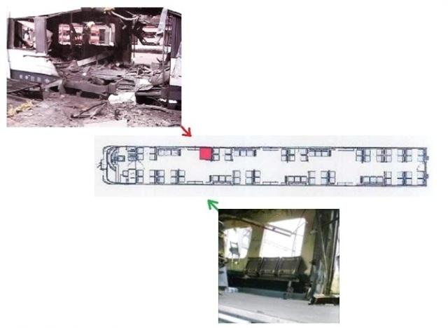 A la izquierda, el coche 4  en Atocha. A la derecha, a su salida de la estación  Las flechas indican la dirección de toma de cada foto