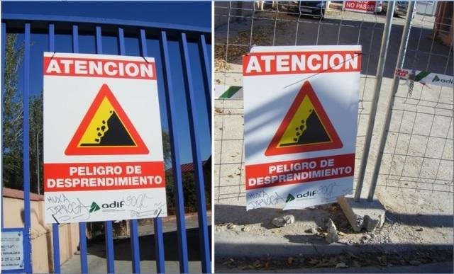 El cartel del 7 de octubre (izquierda), arrancado en su día  y retirado con las propias puertas, es el mismo que el vuelto a colocar antes del 4 de diciembre (derecha)