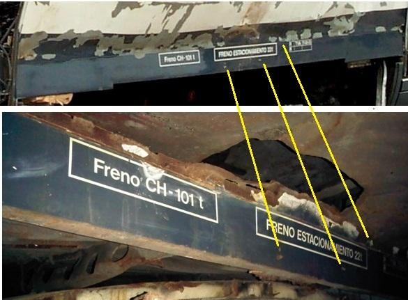 Identificación de las chapas. Arriba el borde del suelo junto al foco de explosión de Santa Eugenia, abajo una de las piezas almacenadas en el cobertizo de Tafesa