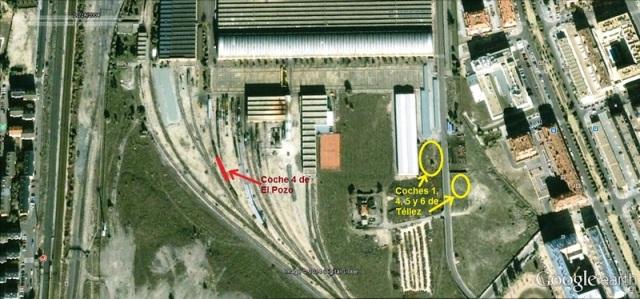 Lugares del TCR de Villaverde en los que estuvieron depositados los coches explotados en Téllez y el coche 4 explotado en El Pozo