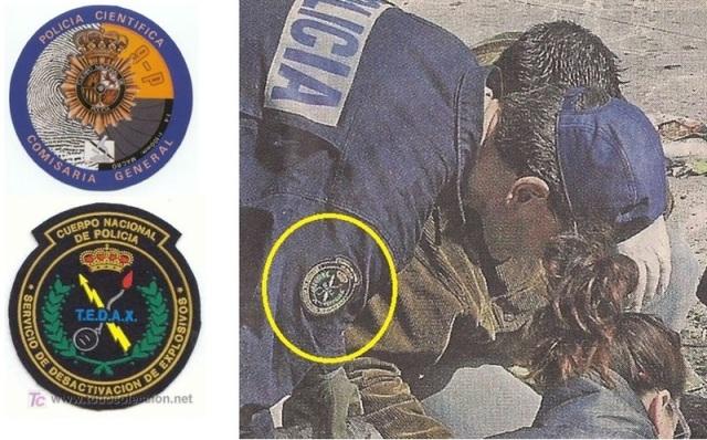 El escudo de los Tedax (abajo y en la manga del agente de El Pozo) y el de la Policía Científica (arriba)