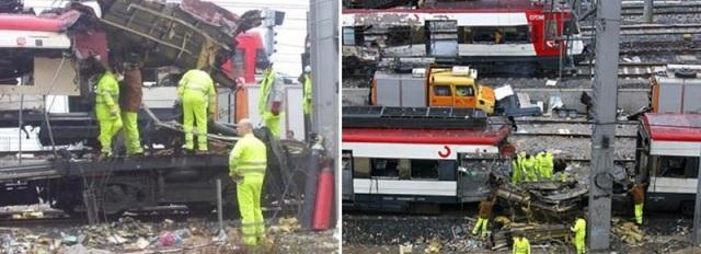 El tren de Atocha pasa muy despacio tras el coche 6 de Téllez, en el cual se está retirando el techo situado sobre el foco de la explosión