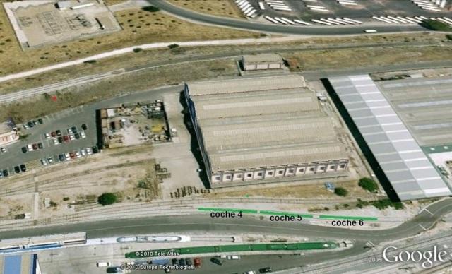 Ubicación en Santa Catalina de los coches 4, 5 y, antes de su segregación y desguace, el 6