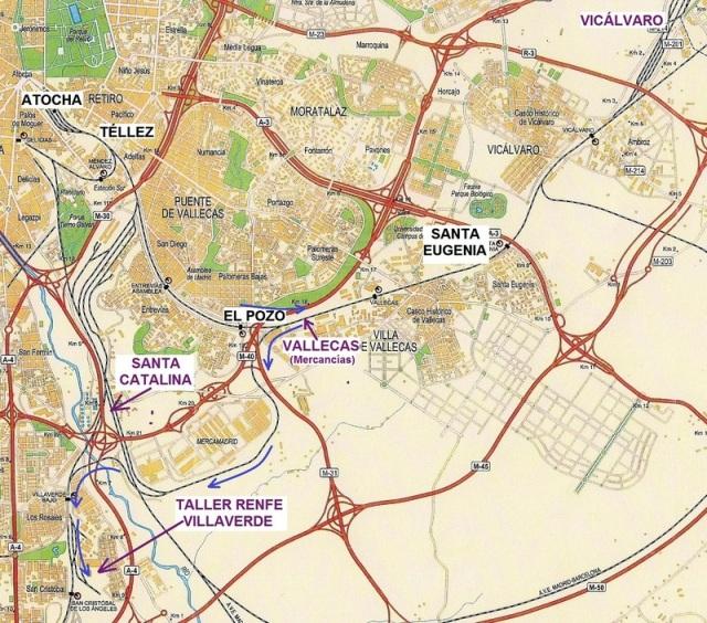 Itinerario seguido por el coche 4 de El Pozo en su traslado a Villaverde