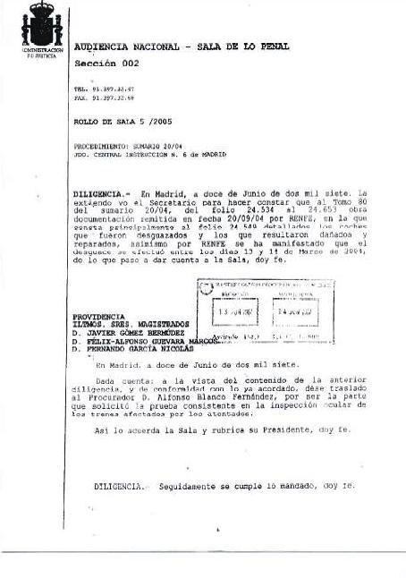 Documento 1.- Providencia de la Audiencia Nacional de 12 de junio de 2007