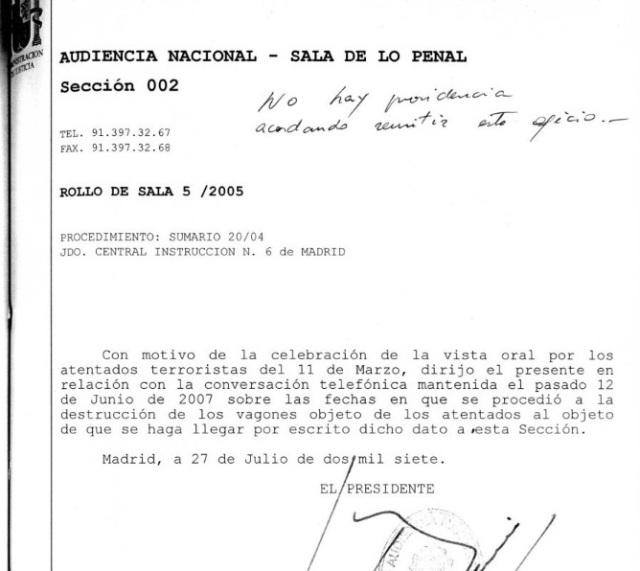 Documento 3.- Oficio de la Audiencia Nacional a Renfe de 27 de julio de 2007