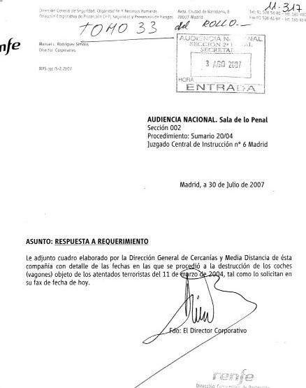 Documento 4.- Carta de respuesta de Renfe a la Audiencia Nacional de 30 de julio de 2007