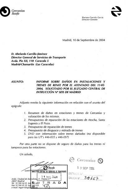 Documento 6.- Carta interna de Renfe a la que se adjunta el informe de daños
