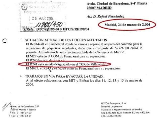Documento 7.- Escrito de Alstom en el que se afirma que el 24 de marzo de 2004 se estaba desguazando el coche 241R, 4º del tren de El Pozo
