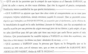Entrada oficial de El Tunecino en el sumario